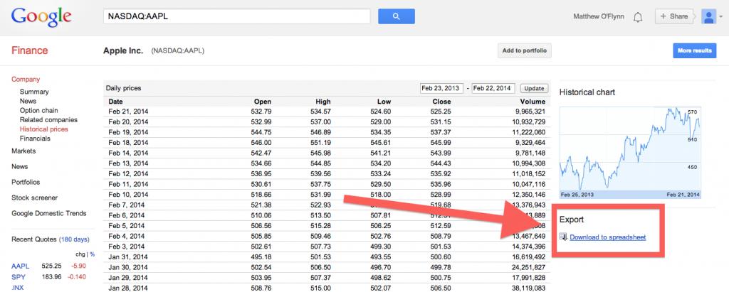 Google Finance - Download to Spreadsheet